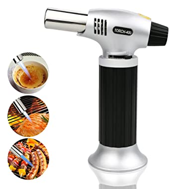 TedGem Culinary Torch, Blow Torch Lighter Cooking Torch Food Torch Butane Torch Refillable Flame Lighter for Creme Brulee, BBQ, Gas Not Included (Silver)