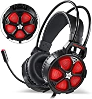 Gaming Headset for Xbox One Slim, PS4, PC, EasySMX Cool 2000 Over Ear Stereo Gaming Headphone with Mic, LED Light, Y...