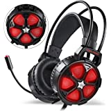 EasySMX Comfortable Gaming Headset, [Mother's Day Gift] for Xbox One Slim, PS4, PC, [2019 Newest] Cool 2000 Over Ear Stereo Gaming Headphone with Mic, LED Light, for Computer Laptop Nintendo Switch
