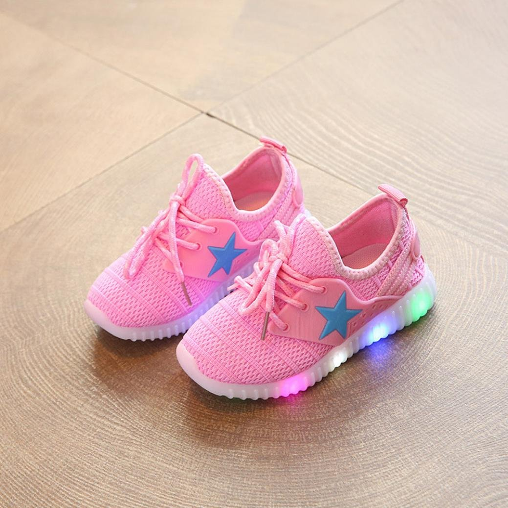 7129d065 Amazon.com: Moonker Baby LED Light Shoes for 1-8 Years Old, Boy Girl Kid  Child Mesh Luminous Breathable Running Shoes Casual Sneakers: Clothing