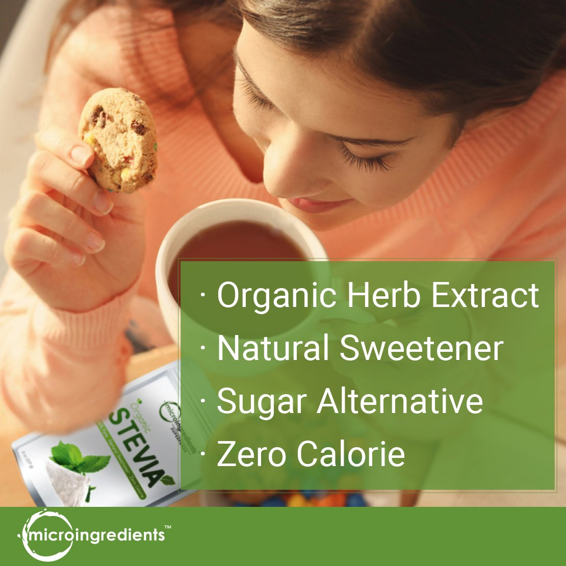 Pure Organic Stevia Powder, 8 Ounce, 1418 Serving, 0 Calorie, Natural Sweetener and Sugar Alternative, No GMOs and Vegan Friendly by Micro Ingredients (Image #2)