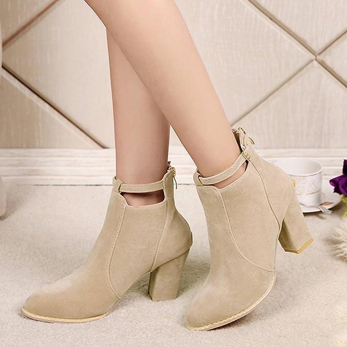 Beladla Zapatos De Mujer Botines Cortos TacóN Alto Scrub Cremallera Trasera Botines para Mujer Moda Hebilla Botas Navidad: Amazon.es: Ropa y accesorios