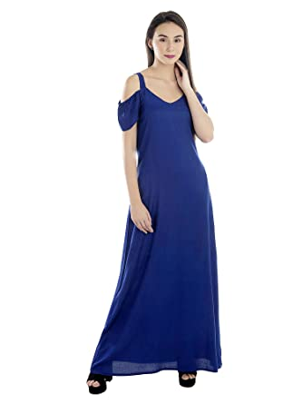 512976e5c411b PATRORNA Women's Slit Cape Sleeve A-Line Kimono Maternity Dresses in Royal  Blue (Size