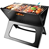 Portable Charcoal Grill, Moclever Space-saving & Foldable BBQ Barbecue Grill, Large Grilling Surface and Capacity Grill for C