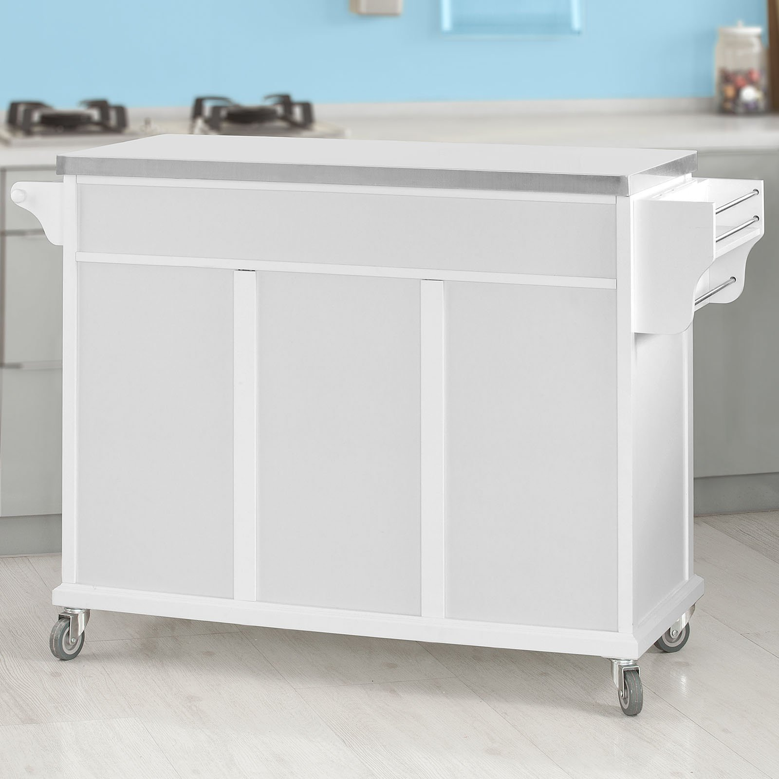 SoBuy?? White Luxury Kitchen Island Storage Trolley Cart, Kitchen Cabinet with Stainless Steel Worktop, FKW33-W by SoBuy by SoBuy (Image #3)