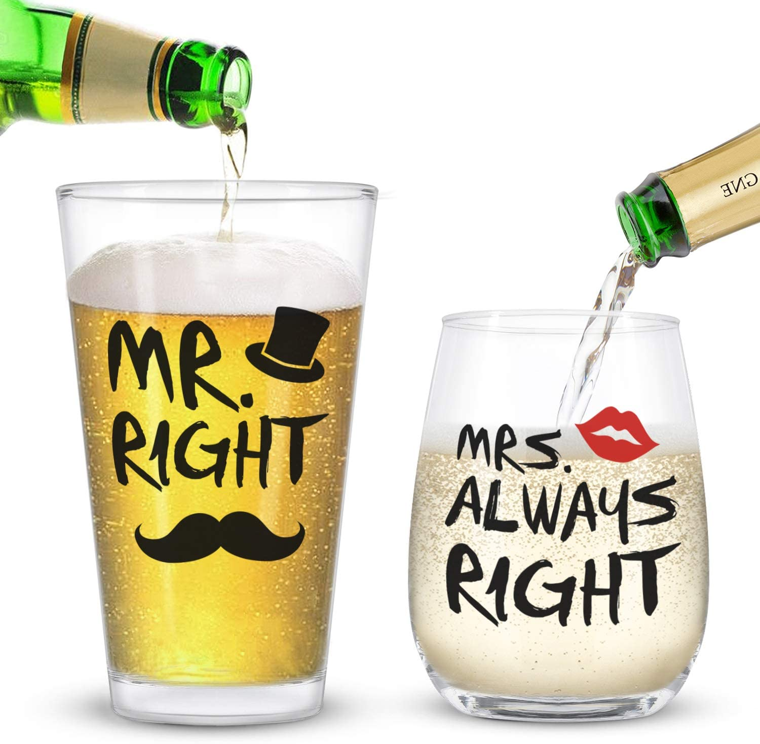 Mr. Right and Mrs. Always Right Stemless Wine Glass and Beer Glass Funny Present for Her Him Newlywed Couples -Ideal for Wedding Anniversary Valentine's Day Birthday