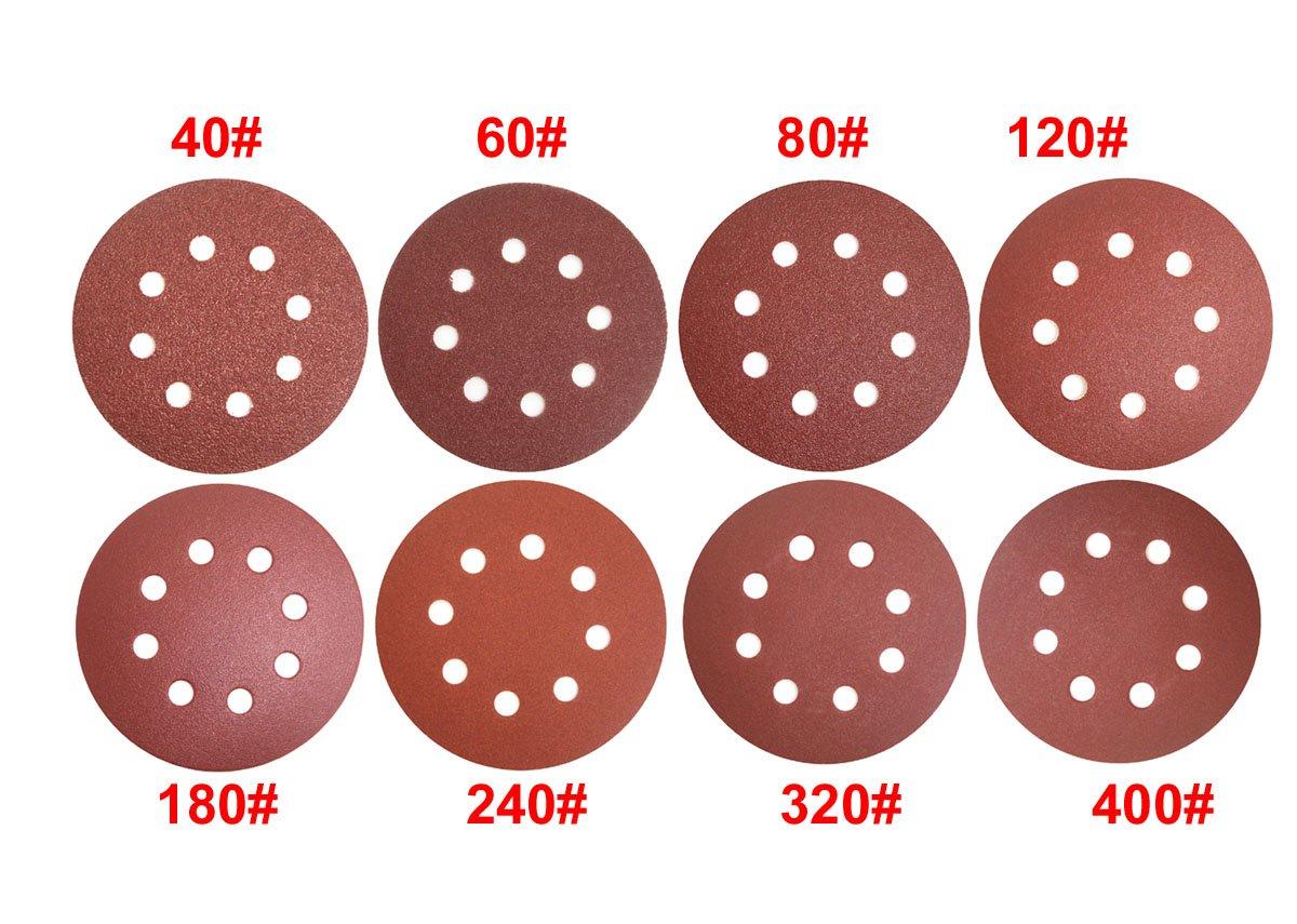 5-Inch 8-Hole 40 60 80 120 180 240 320 400 Grits Aluminium Oxide Sandpaper for Random Orbital Sander WINGONEER® WINGONEER 80PCS Hook and Loop Sandpaper Sanding Disc Sandpaper Sanding Sheets Assorted