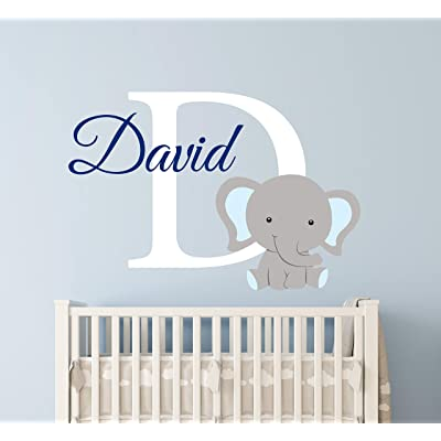 "Custom Elephant Name Wall Decal for Boys - Nursery Wall Decals - Baby Room Decor - Elephant Wall Art Vinyl Sticker Decor Vinyl Sticker (24""W x 16""H): Baby"