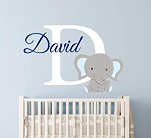 "Custom Elephant Name Wall Decal for Boys - Nursery Wall Decals - Baby Room Decor - Elephant Wall Art Vinyl Sticker Decor Vinyl Sticker (24""W x 16""H)"