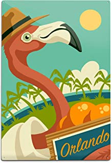 product image for Lantern Press Orlando, Florida, Flamingo and Oranges 100286 (12x18 Aluminum Wall Sign, Metal Wall Decor Ready to Hang)