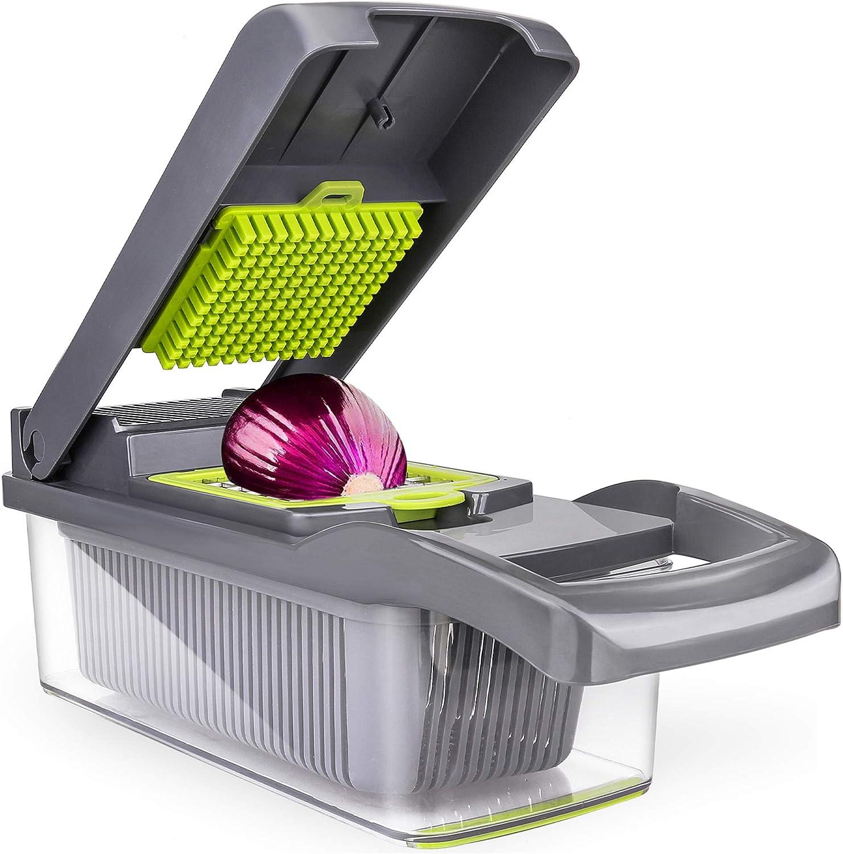 12 in 1 Vegetable Chopper Dicer Mandoline Slicer, ENLOY Onion Chopper Food Slicer Cutter for Vegetable with Drain Strainer