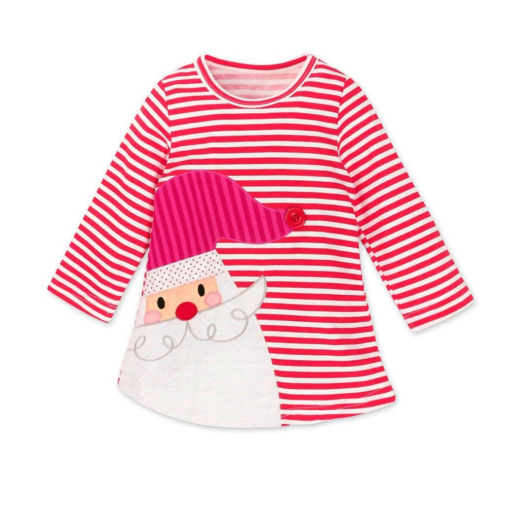 af7c6f06efb04 Amazon.com: Clearance Sale Toddler Baby Girl Xmas Santa Deer Print Dresses  Casual Kids Christmas Clothes Outfits: Clothing