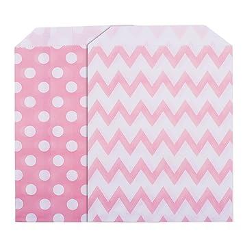 Bolsa de Papel Rosa de Caramelos Bolsas para Fiestas de Cumpleaños, Boda, Baby Shower, Celebración, 5 por 7 Pulgadas, 50 Piezas