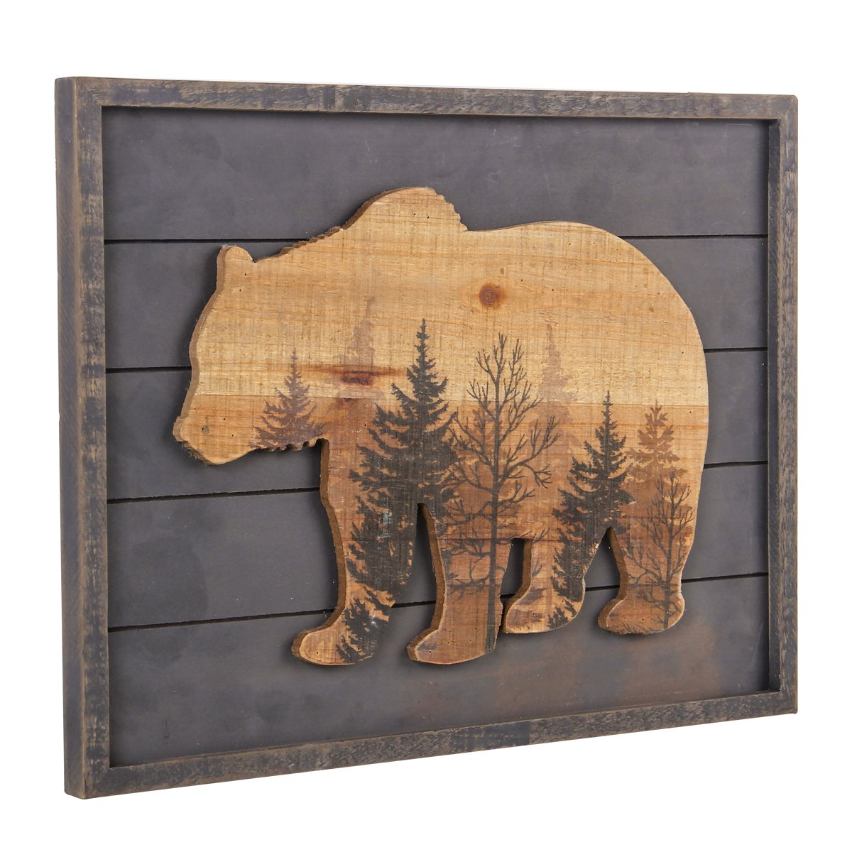 NIKKY HOME Wooden Framed Grizzly Bear and the Woods Wall Art Prints for  Cabin Lodge Decor, Gray