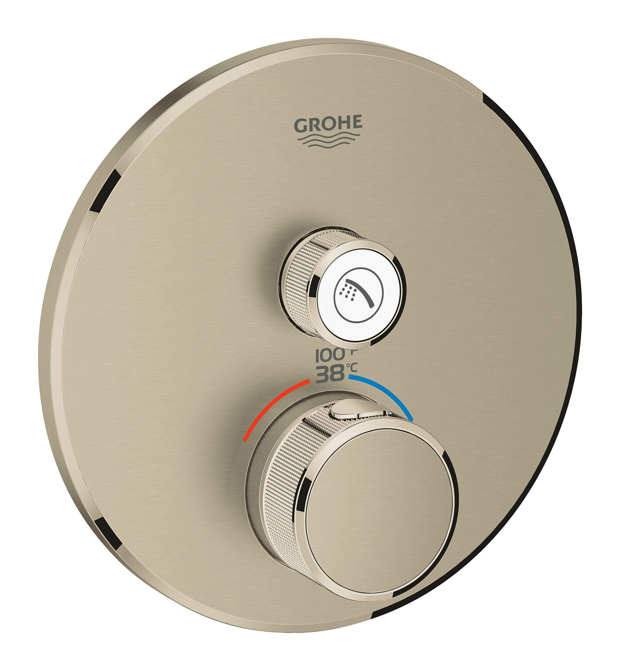 GROHE 29136EN0 Grohtherm Smartcontrol Single Function Thermostatic Trim with Control Module, Brushed Nickel