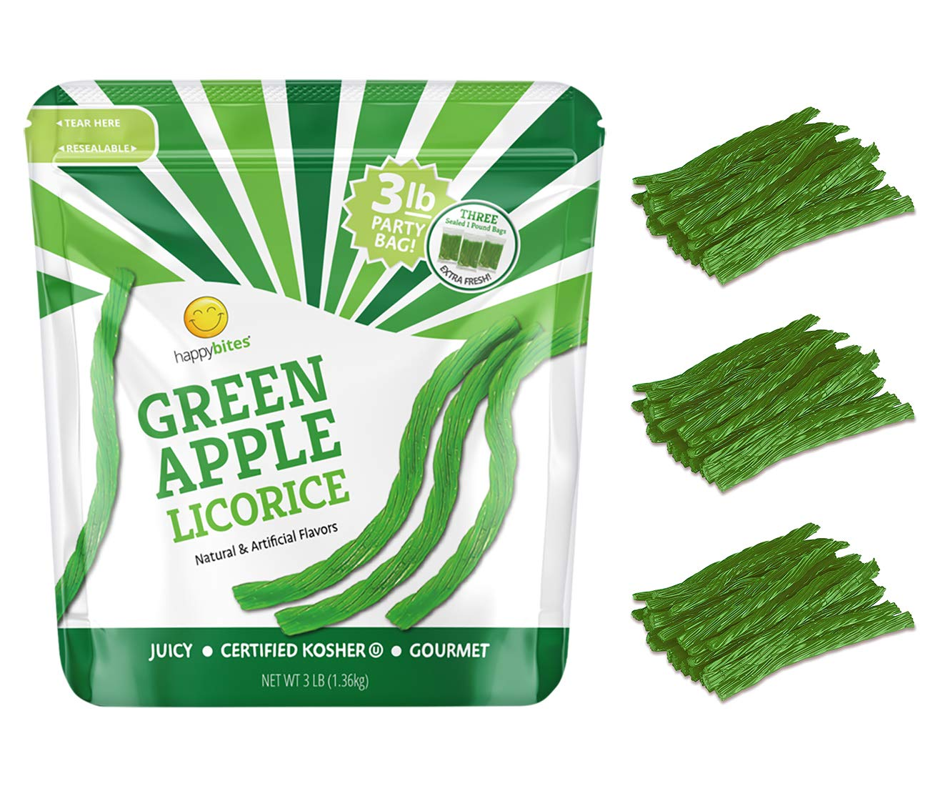 Happy Bites Green Apple Licorice Twists Party Bag - Certified Kosher - Gourmet - Low Fat - Made with Real Fruit Juice (3 Pound Bulk)