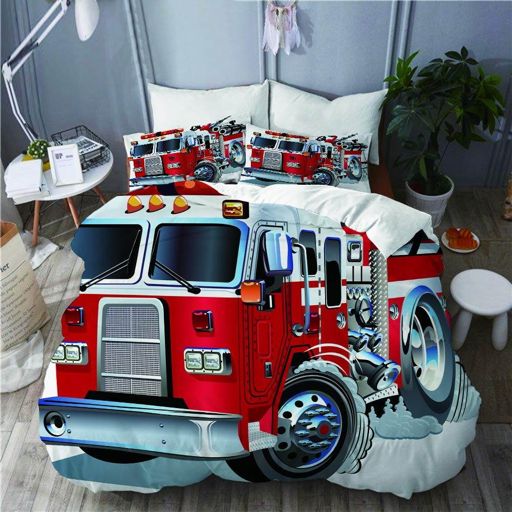 GEEVOSUN Deluxe Bedding,Fire Brigade Vehicle Emergency Aid for Public Firefighter Transportation Themed Lorry,3 Pcs Ultra Soft Lightweight Microfiber Duvet Cover & 2 Pillow Shams Set Full/Queen