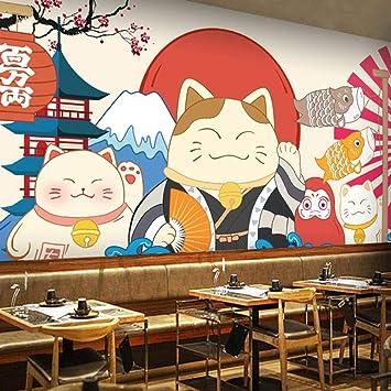 Japanese Style Cartoon Beckoning Cat Wallpaper Japanese Style Mural Japanese Style Decoration Restaurant Sushi Restaurant Wallpaper 250cmx175cm Amazon Co Uk Diy Tools