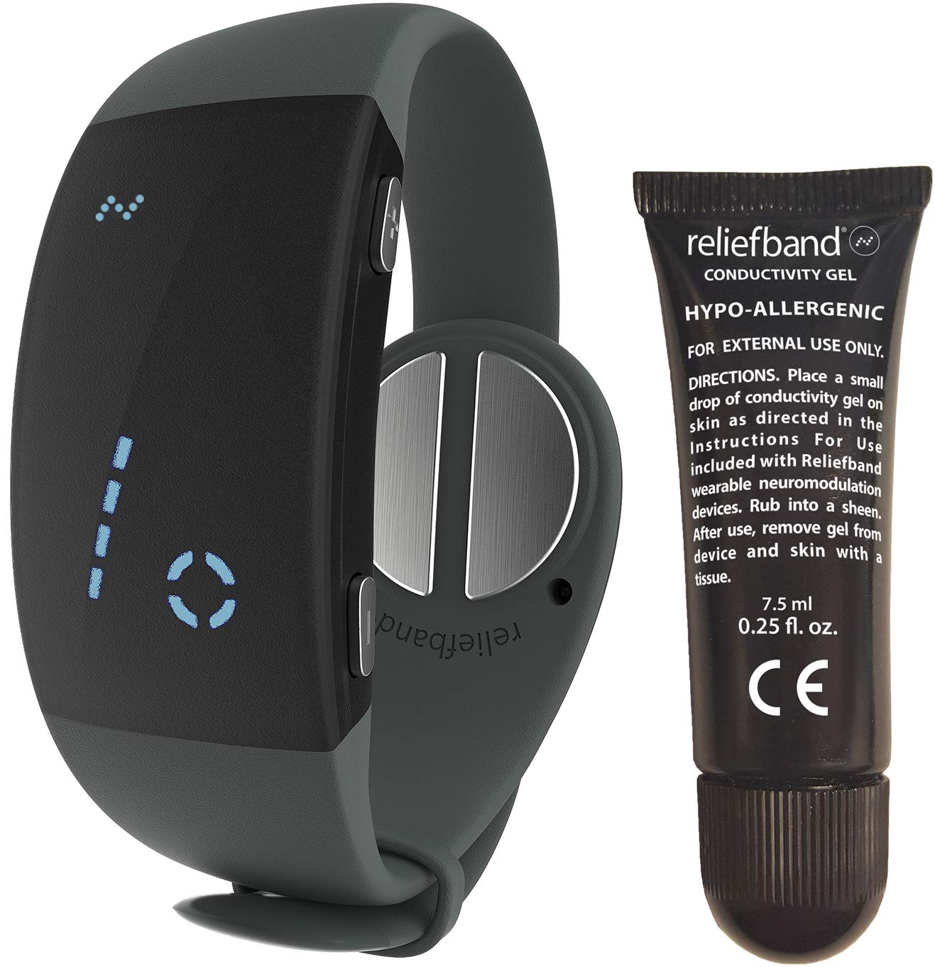 Reliefband 2.0 Motion Sickness Wristband - Easy-to-Use, Fast, Drug-Free Nausea Relief Band Helps w/Morning Sickness, Nausea, Sea Sickness, Retching, Vomiting (USB Charging Cable, Charcoal) by Reliefband