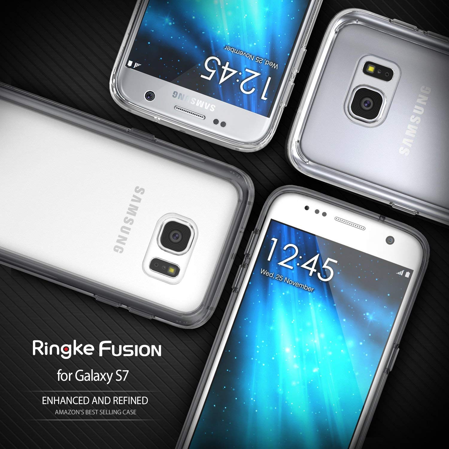 Ringke Fusion Compatible with Galaxy S7 Case Brilliant Clear Minimalist Hybrid Fortified PC Back TPU Bumper Impact Resistant, Shock Absorption for ...