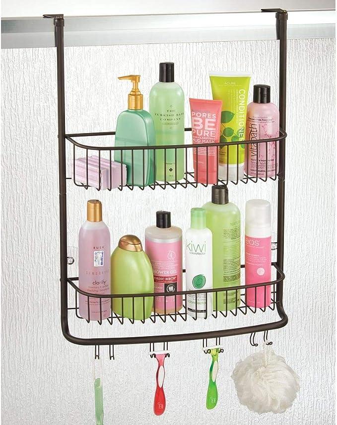 mDesign Estanterías de baño para colgar – Práctico colgador de ducha sin taladro – Estantes para baño de metal con dos cestas metálicas y cuatro ganchos dobles – color bronce: Amazon.es: Hogar