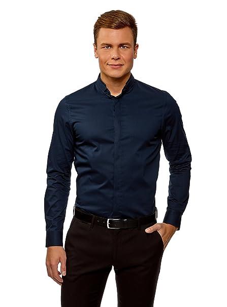 oodji Ultra Hombre Camisa Entallada con Cuello Mao  Amazon.es  Ropa . 6c3689bd07f