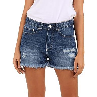 404780f59 HOCAIES Women Frayed Ripped Short Jeans High Rise Mom Pants Raw Hem Denim  Jean Shorts (