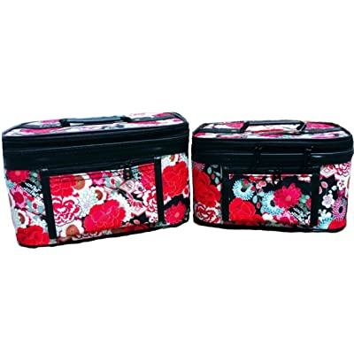 2beYOUnique Cosmetic Bag 2 Piece Portable Travel Red Floral Makeup Train Case