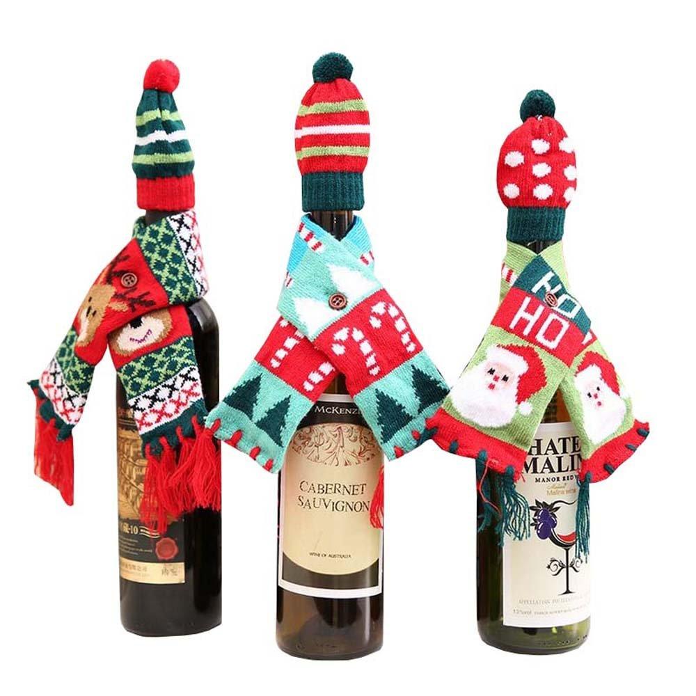 nibesser 3Pack Lot de décorations de Noël décoration Bonnet de Père Noël avec bonnet et écharpe conception de bouteilles