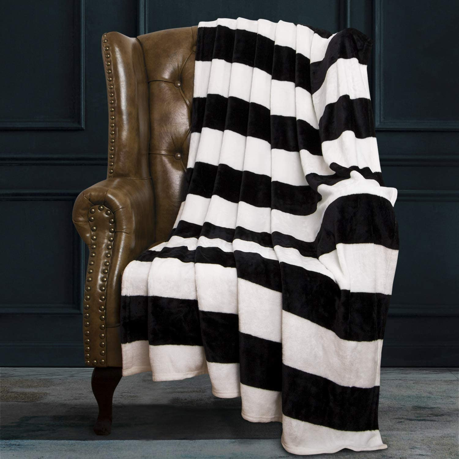 Amazon Com Ntbay Flannel Throw Blanket Super Soft With Black And White Stripe 51 X 68 Home Kitchen