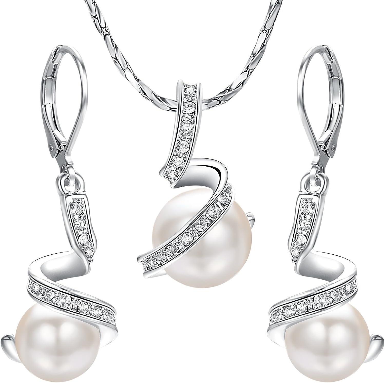 Yoursfs Chapado en Oro blanco Conjunto de Collar y Pendiente perlas artificiales para Mujeres con Colgante de bola de Cristal