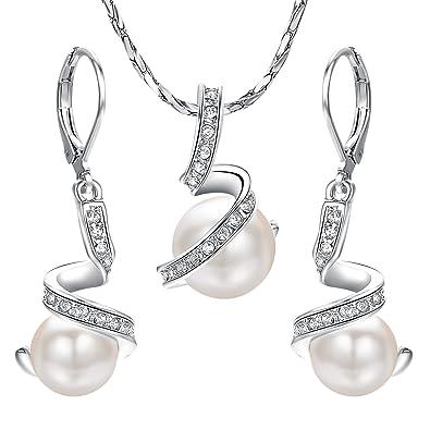 c5ffa04d6c4c9 Yoursfs Parure bijoux plaqué Argent Boucles d'oreilles crochets et Collier  pendentif en Perle de
