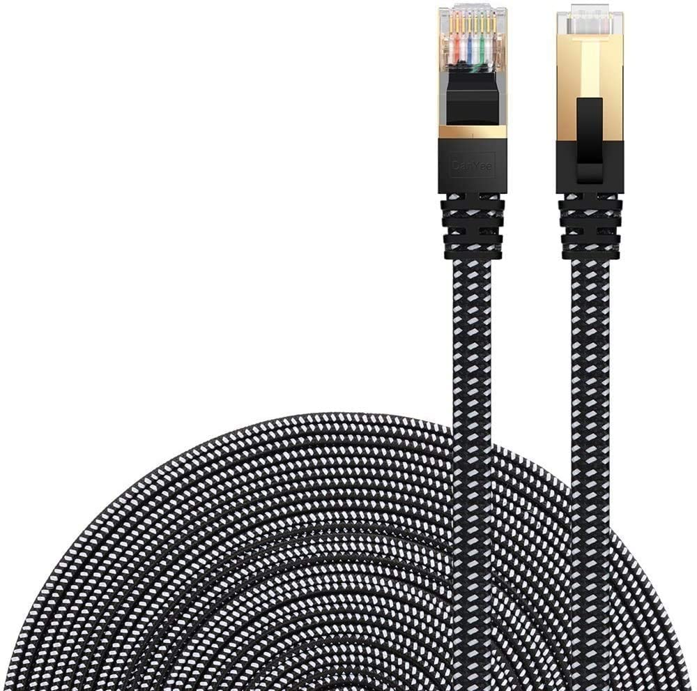 Cat 7 Ethernet Cable, DanYee Nylon Braided 10ft CAT7 High Speed Professional Gold Plated Plug STP Wires CAT 7 RJ45 Ethernet Cable 3ft 10ft 16ft 26ft 33ft 50ft 66ft 100ft (Black 10ft): Industrial & Scientific