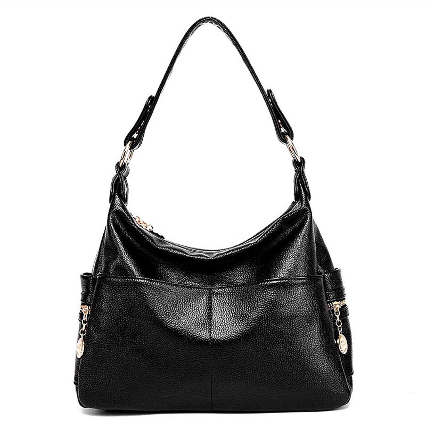 Lustear Leather Purse Shoulder Bag Hobo Style Handbags for Ladies (Black)