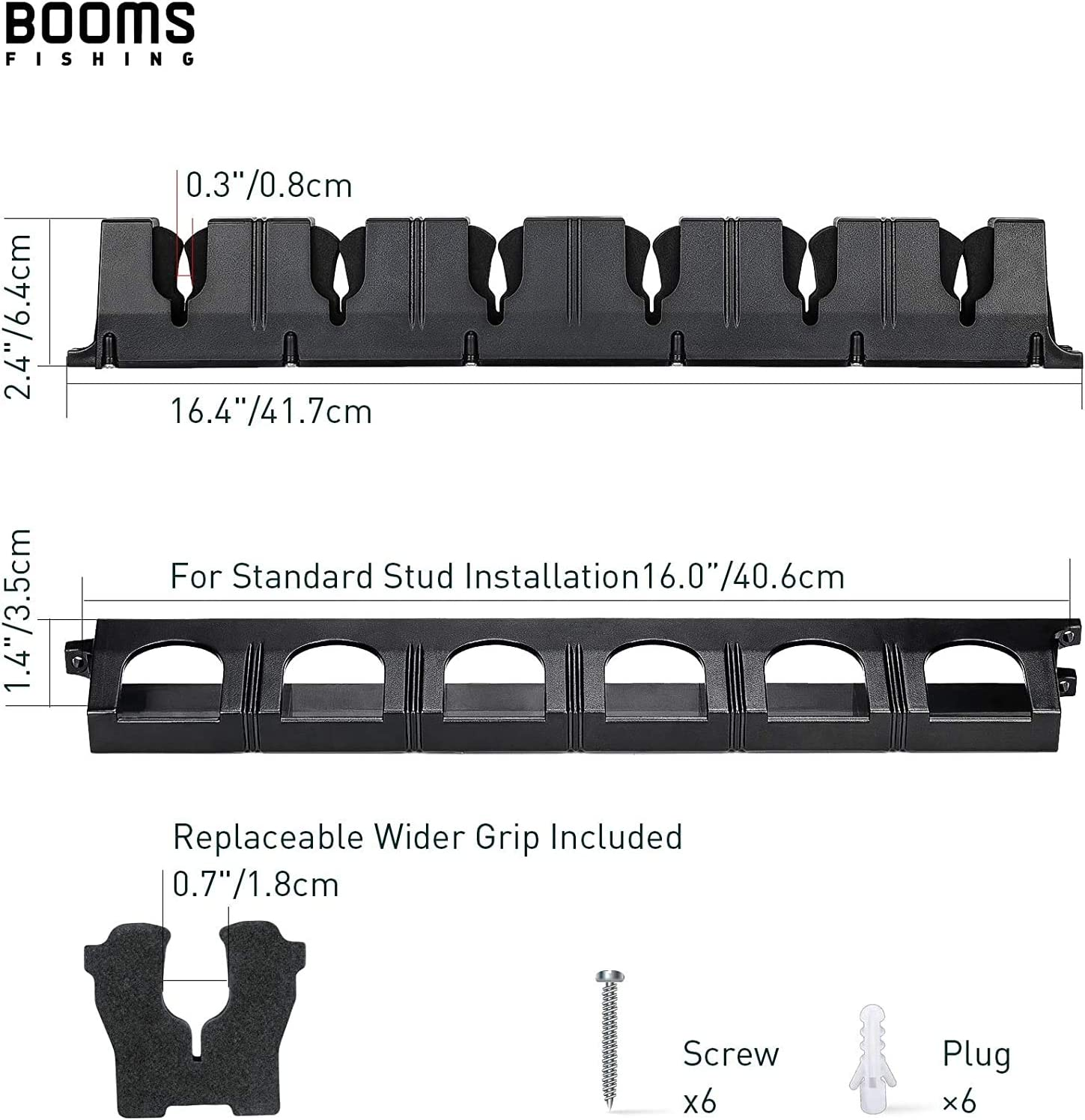Booms Fishing WV2 Vertical 6-Rod Rack Horizontal Fishing Pole Holder Wall Mount Modular for Garage