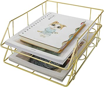 PAG Set of 2 Office Supplies Metal Stackable File Document Letter Tray Organizer for Desk Gold