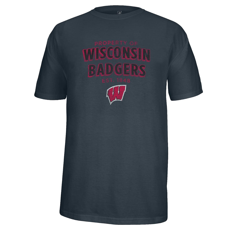 America NCAA Wisconsin Badgers Mens Property of Heathered Flex Tee J Charcoal Heather Large
