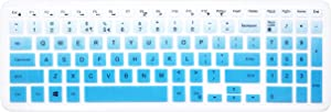 "Silicone Keyboard Cover Skin for 15.6"" Dell Inspiron 15 7567 7577 i3567 i5570 i5577 i5767 i7559 i7577, 15.6"" Dell Inspiron 15 3000 5000 Series, Dell Inspiron 17 5000 Series Like 5748 (Ombre Blue)"