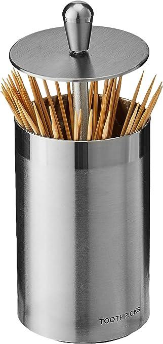 gray Automatic Toothpicks Holder Dispenser Pop Up Toothpick Bucket Storage Container Dispenser for Home Restaurant Kitchen jinanshiAries Maggie Automatic Toothpick Holder Dispenser,Pop Up Design