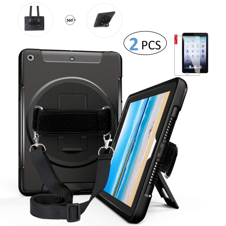 人気満点 iPad Air (Air 1) ブラック ケース ケース 高耐久 9.7 スクリーンプロテクター付き (Air - ハンドストラップ ショルダーストラップ、ハードバック 360度回転スタンド 耐衝撃 - A1474 A1475 MD785LL/A NQ_000100 ブラック B07L6NT2B6, ラグラグマーケット:311f2055 --- a0267596.xsph.ru