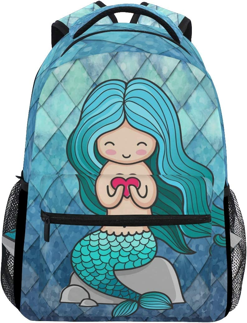 ZOEO Girls Backpacks Teal Blue Mermaid Scales Heart Kids School Bookbags Travel Laptop Daypack Bag Purse for Teens Women