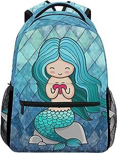 ZOEO Girls Backpacks Teal Blue Mermaid Scales Heart Kids School Bookbags Travel Laptop Daypack Bag Purse for Teens Women