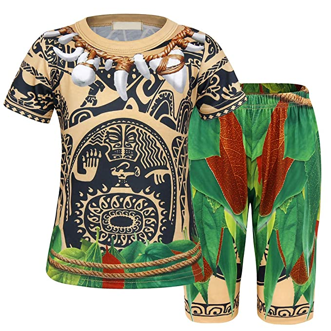 AmzBarley Maui Kids Boys Pajamas Set Clothes Cosplay Sleepwear Moana Boys