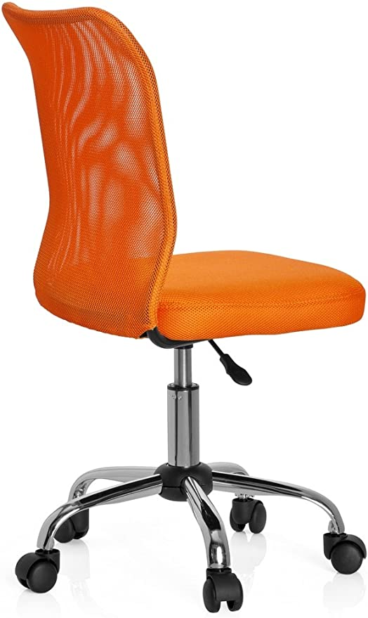 hjh OFFICE 685966 chaise de bureau enfant, chaise junior KIDDY NET orange sans accoudoirs, dossier en tissu maille respirant, piètement stable en