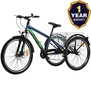 VANELL Adult Mountain Tricycle 7 Speed Three Wheel Cruiser