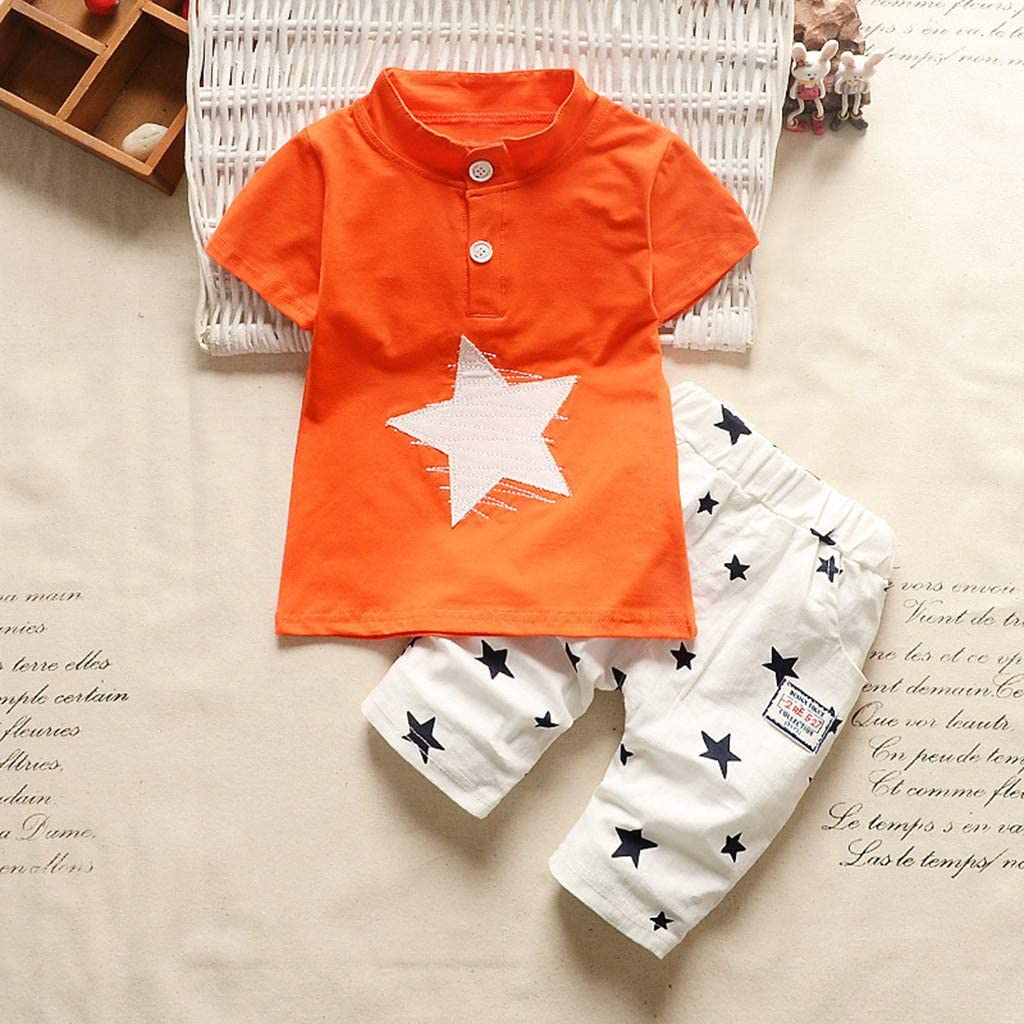 Kids Short Sleeve Star Cartoon Printed Tracksuit Clothes Set Willsa Baby Boy Outfits