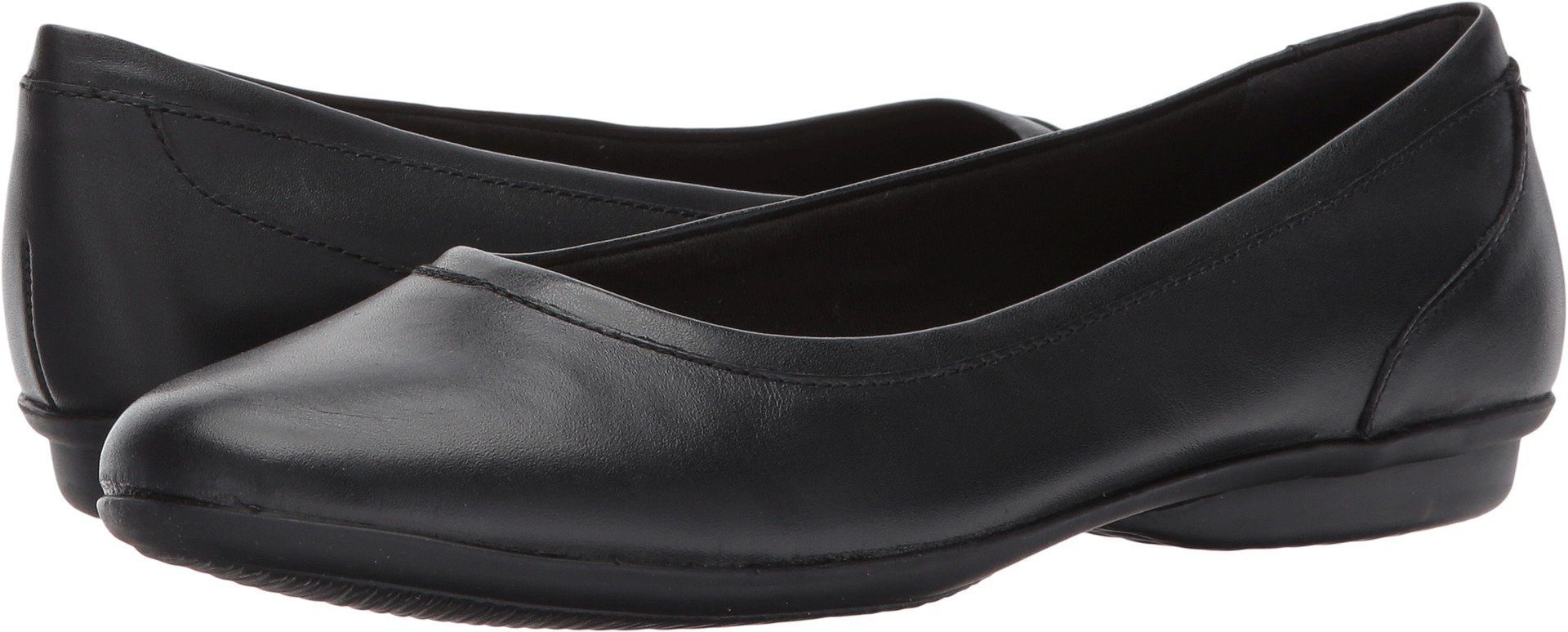 CLARKS Women's Gracelin Mara Flat,Black Smooth,9.5 M US