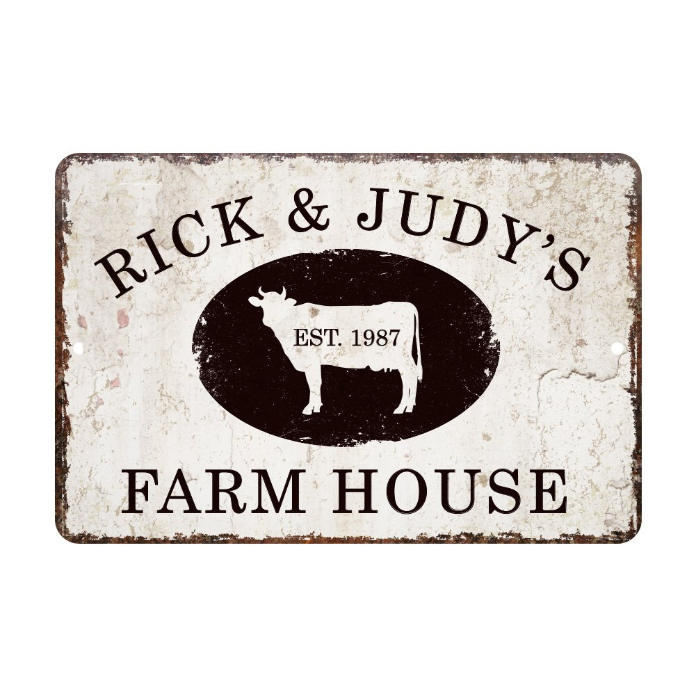 Pattern Pop Personalized Vintage Distressed Look Farm House Metal Room Sign