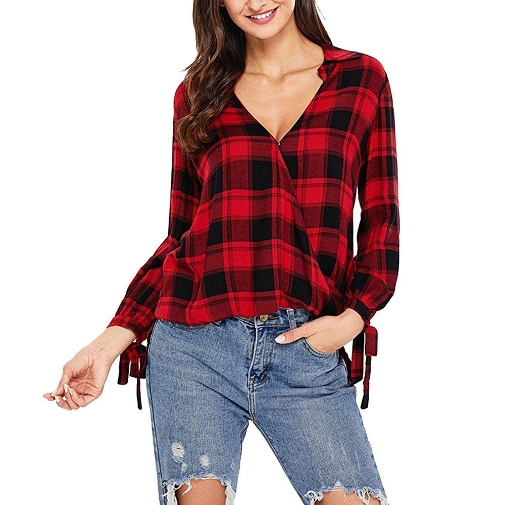Fulltime Autumn& Winter Clothing, (TM) Women Long Sleeve Plaid Print Pullover Tops LNP71129362