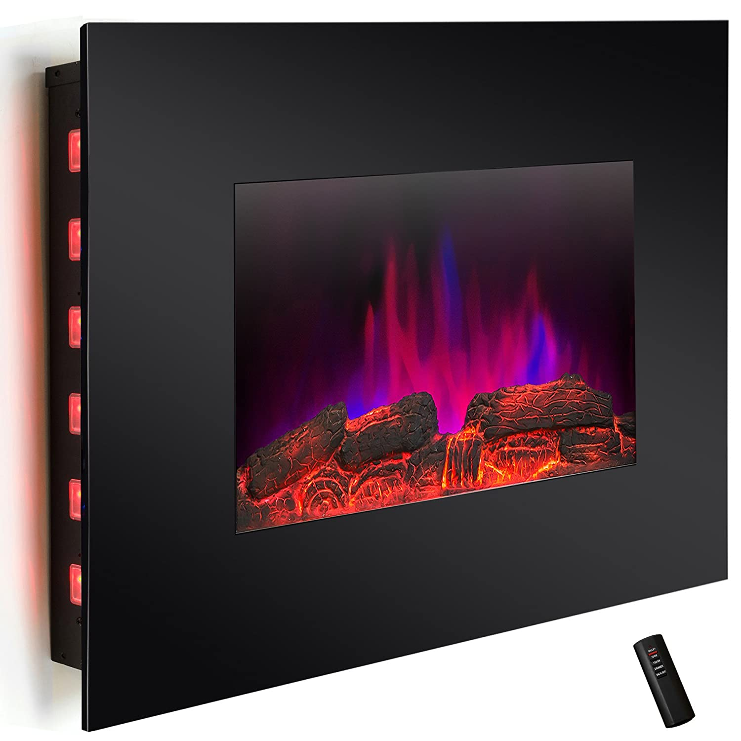 "Buy AKDY® 36"" LED Wall Mount Electric Fireplace Modern Space Heater Flat Tempered Glass w/Remote Control: Space Heaters - Amazon.com ? FREE DELIVERY possible on eligible purchases"